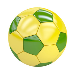 football (soccer ball) with brazilian colors isolated on white