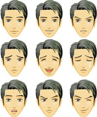 Facial expression of man (Asian Descent)