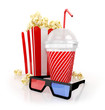 popcorn, paper cup  and 3d glasses