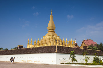 Golden pagada in Wat Pha-That Luang, Vientiane, Laos