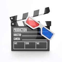 Clapper board - video icon isolated with 3d glasses