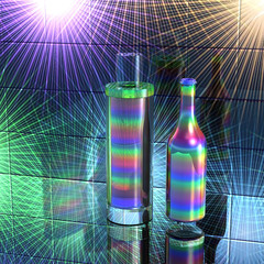Glass vessels rainbow colors