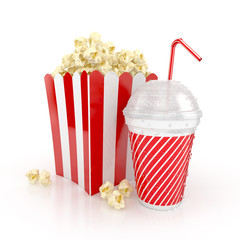 popcorn and paper cup with red tube