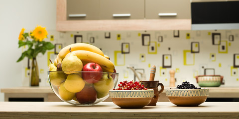 healthy fruits on kitchen countertop