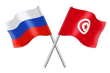 Flags: Russia and Tunisia