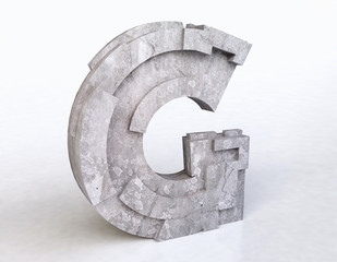 Stone Letter G in 3D