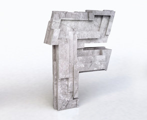 Stone Letter F in 3D