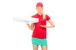 Pizza delivery girl holding two boxes