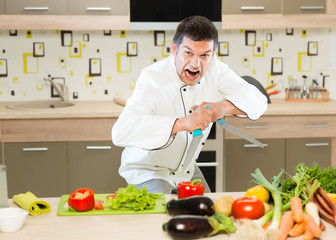 angry chef cutting vegetables