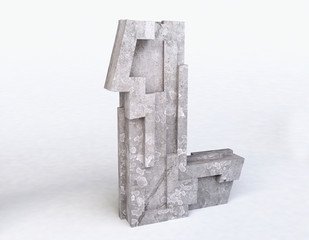 Stone Letter L in 3D