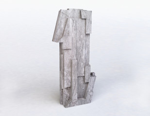 Stone Letter I in 3D