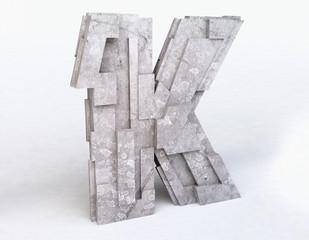 Stone Letter K in 3D