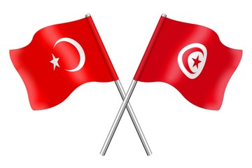 Flags: Turkey and Tunisia