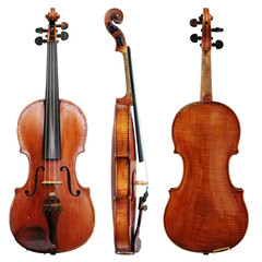 Old Violin isolated on a white background in projections