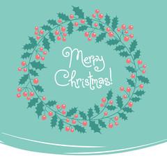 Vintage card with Christmas wreath.