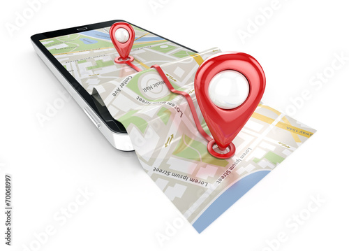 smart phone navigation - mobile gps 3d illustration - 70068997