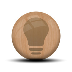 Icone en bois : ampoule