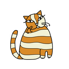 Cute striped cat for your design