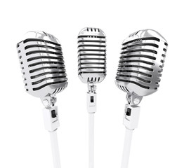 Retro microphones. isolated on white. 3d illustration