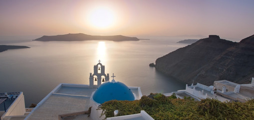 Panorama of a Church at Santorini
