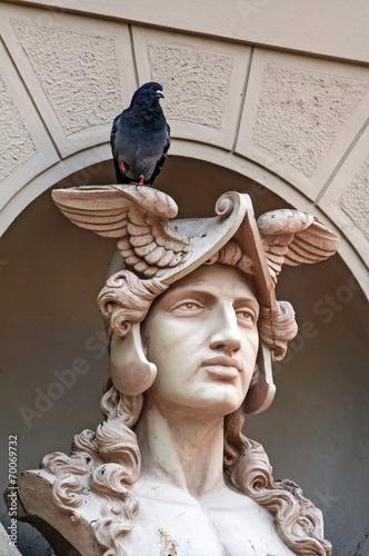 Staande foto Praag Architectonic detai with Mercury bust