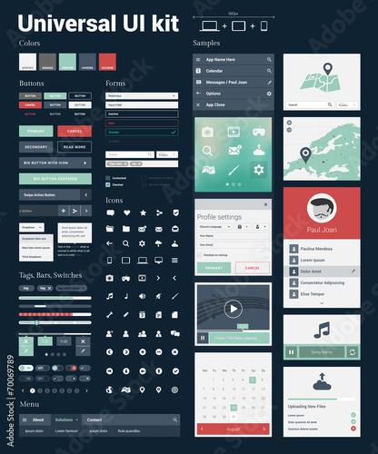 Fototapeta Universal UI Kit for designing websites & mobile apps