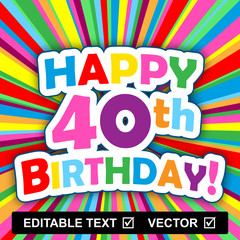 """HAPPY BIRTHDAY"" Card (editable text vector insert your own)"