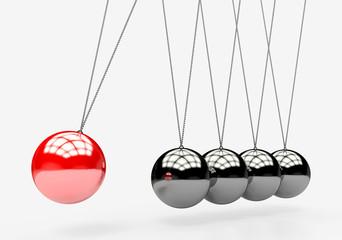 Newton's Cradle. colorful balancing balls