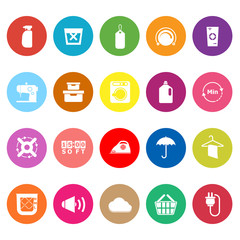 Laundry flat icons on white background