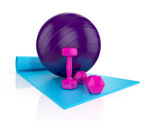 blue exercise mat with pink weights and fitness ball i