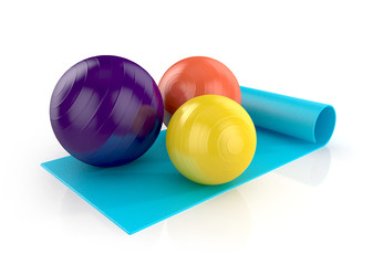 blue exercise mat with colorful fitness balls