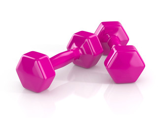 pink weights isolated on white background