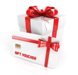 gift voucher, gift card with gift box