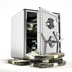 Money inside the steel safe