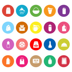 Variety food package flat icons on white background