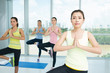 Doing yoga position