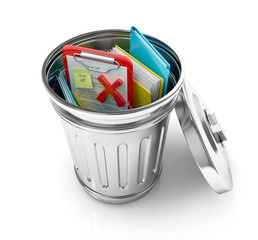 trash can with folders, check list, sticky notes