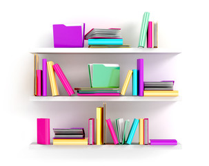 White bookshelves with multicolor books