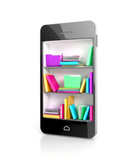 Smartphone Bookcase with colorful e-books