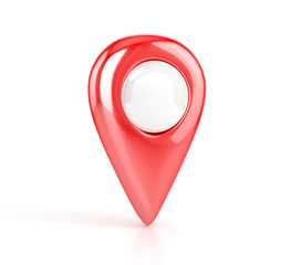 red Map pointer. 3d illustration