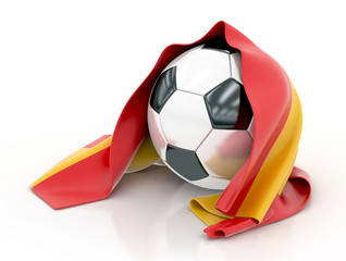 Football with Spanish Flag. 3d illustration