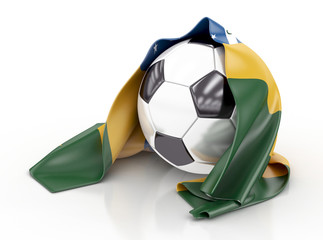 Football with Brazilian Flag. 3d illustration