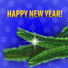 Happy New Year! greeting card on blue background