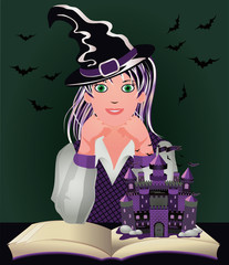 Back to Witch School. Cute little witch and book