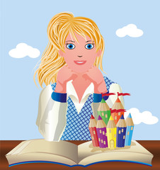 Back to School. Cute little schoolgirl with book and castle
