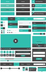 Flat design web element set