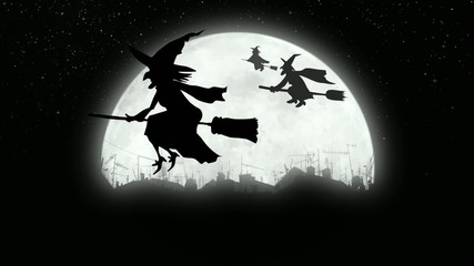 Witches flying over the city at night.