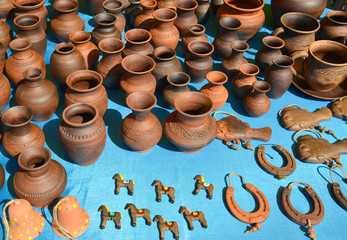 Sale of pottery at fair of national creativity