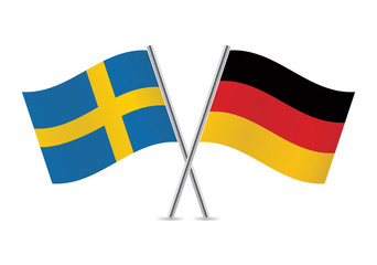 German and Swedish flags. Vector illustration.