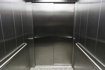 Interior of a metal lift